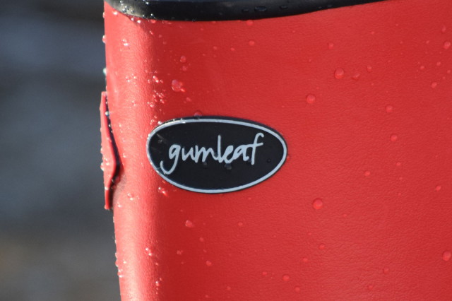 Gumleaf Logo on front of Norse Wellie Boots - Photo by Lorraine Peachey