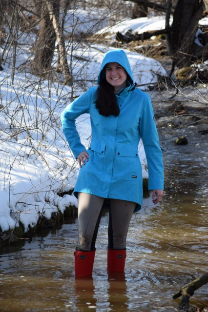 I've really found enjoyment in wearing the Split Tail Rain Jacket - not only do I get (tons of) compliments on it, because it is very chic and stylish - Photo by Lorraine Peachey
