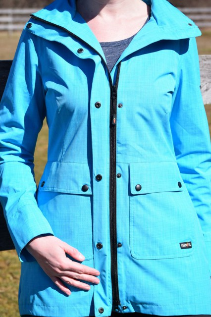 The front of the Split Tail Rain Jacket has a full-length double zipper in the front, which is couple with snap closures as well - Photo by Lorraine Peachey