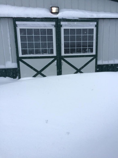 Team CEO Eventing's barn surrounded by snow drifts. Photo via Megan Moore on Facebook.