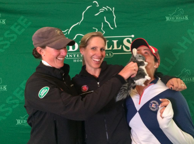 Chinch has started a new Red Hills tradition of smooching the CIC3* leaders.