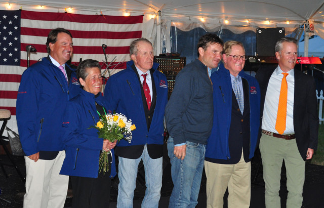 Icons of the sport were honored at Saturday night's competitors party. From left: David O'Connor, Lafreda Williams, Michael Plumb, Phillip Dutton (presenting), James Wofford, Bobby Costello (presenting)