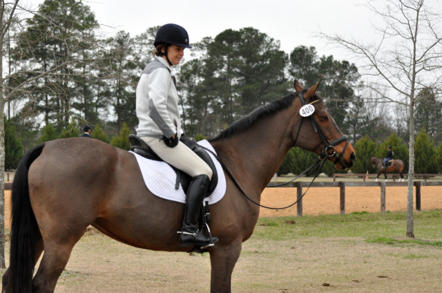 "It's not often we see a dressage judge competing! FEI 4* eventing judge and USEF ""S"" judge Marilyn Payne competed her own Safe Harbor in Open Training-C, finishing second to none other than her son, Doug! Photo by Leslie Threlkeld"