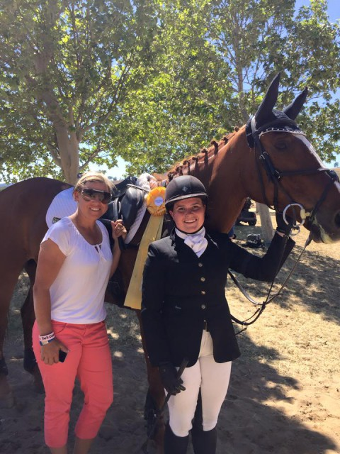 Heather Morris, Elizabeth New and Fleeceworks Mystere du Val celebrate with their yellow ribbon in the CCI 1*. Photo courtesy of Heather Morris' FB.