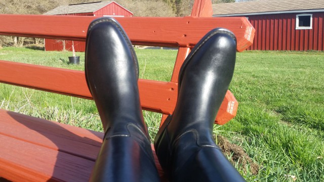 Post-ride boot selfie - check out those sleek looking squared toes - Photo by Colleen Peachey