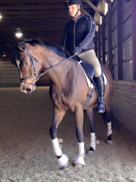 Dave and his mare Serendipity working on their dressage work with Eric