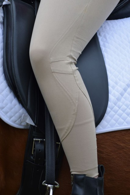 The no-chafe seamless polyester knit calf panel that cuts up the side of the Performance breeches - Photo by Lorraine Peachey