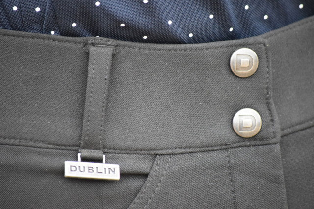 Dublin logo buttons and badge on Shapley Active Euro Seat Breeches - Photo by Lorraine Peachey