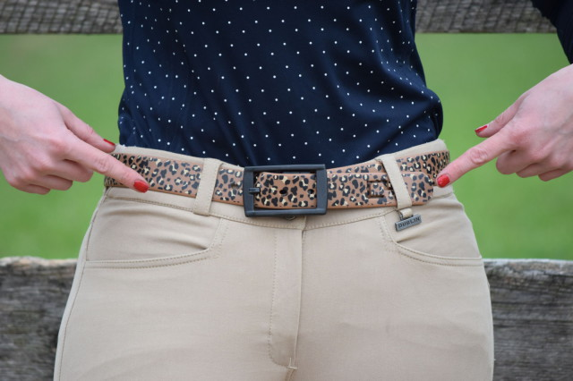 Both the Active and Performance breeches also feature two angled front pockets, Dublin logo buttons, belt loops, a small metal Dublin logo bar, as well as an embroidered Dublin logo circle on the back along the waistband - Photo by Lorraine Peachey