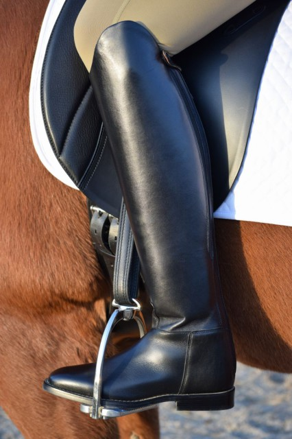 The reinforced calf of the Cadence helps to create a sturdy feel to the outer side of the boot...which is just right for offering support needed in the dressage ring - Photo by Lorraine Peachey