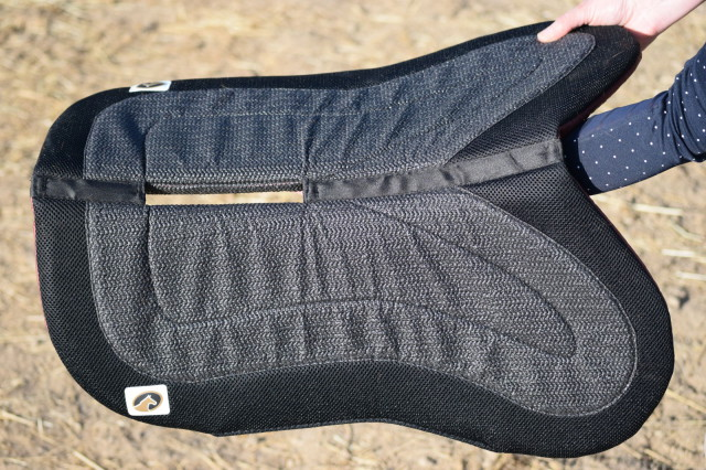 Both sides of the Flip Half Pad feature a non-slip surface, that helps to keep your saddle securely in place for your ride - Photo by Lorraine Peachey