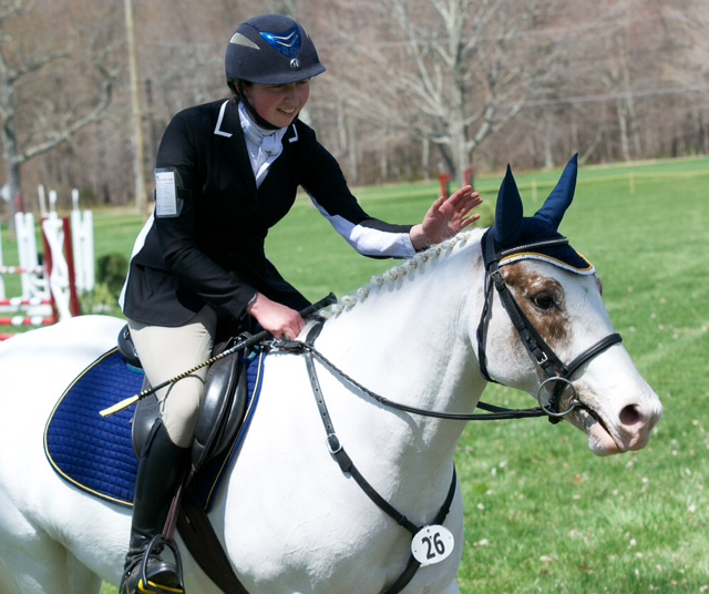 Emma and Salty celebrate their Novice-A win at the Riga Meadows Combined Test. Photo by Eliza Goldberg.