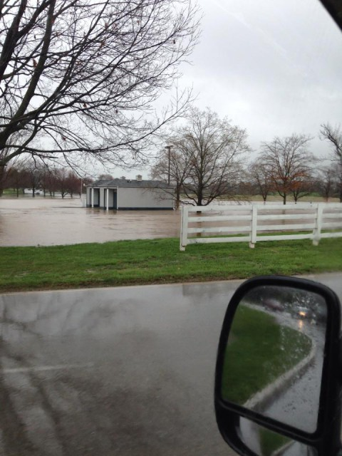 The entrance to Kentucky Horse Park virtually unrecognizable. Photo by Courtney Carson.