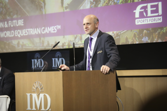 Tim Hadaway, FEI Director of Games and Championships, addressing the FEI Sports Forum 2016 held at the IMD business school in Lausanne. Photo: FEI/Germain Arias-Schreiber