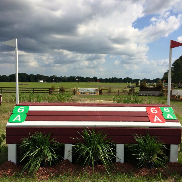 This is the first water on the CCI1*/Intermediate course. The CCI2* jumped a similar set of fences. Photo by Siobhain O'Connor.