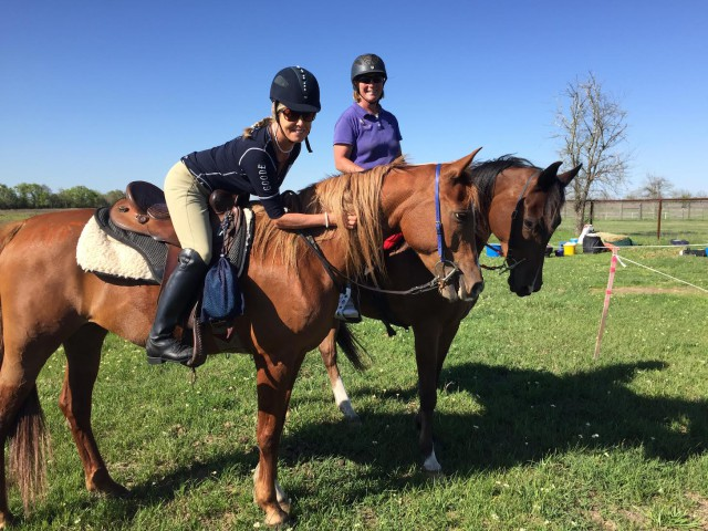 Hilda Donahue riding Spotty (left) in Texas with Cheryl Van Deusen. Photo courtesy of Hilda Donahue.