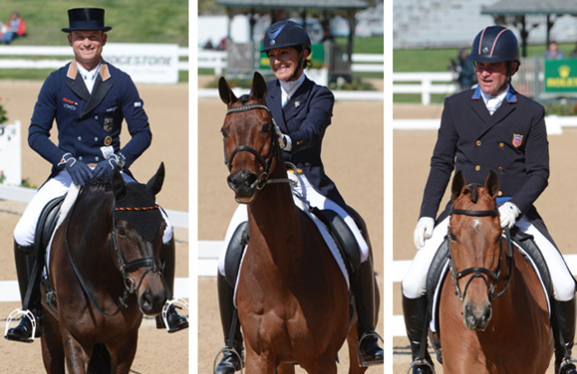 Your Rolex top three: Michael Jung and fischerRocana FST, Laine Ashker and Anthony Patch, and Phillip Dutton and Fernhill Fugitive. Photo by Jenni Autry.