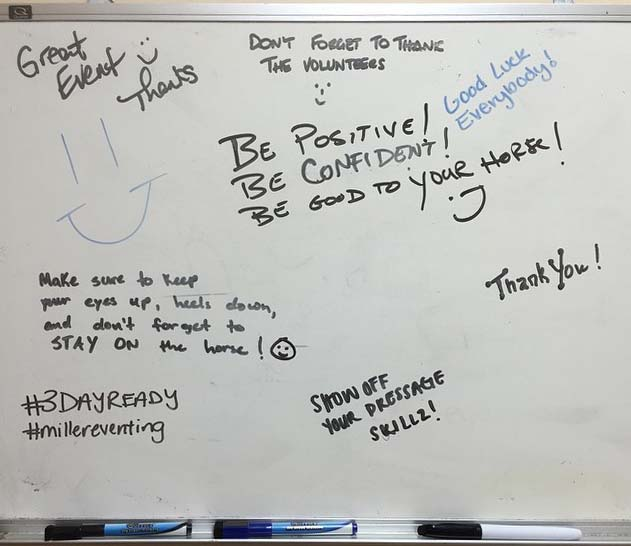 The dry-erase board in the restroom at Southern 8ths Farm. Photo via Amanda Miller Atkins Facebook page