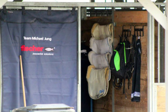 Sportz-Vibe hangs in Michael Jung's tack room at Rolex. Photo by Samantha Clark.