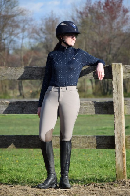 I feel like the perforated deerskin knee patches of the Kimberly breeches really give me some extra above-and-beyond a normal type of traction from what I am accustomed to with a normal pair of knee patch breeches - Photo by Lorraine Peachey