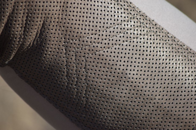 Up close and personal view of the perforated deerskin knee patches - Photo by Lorraine Peachey