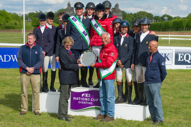 Germany wins leg three of FEI Nations Cup™ Eventing 2015 (center), with Great Britain (left) placing second and France third at the beautiful and historic Houghton Hall (GBR). Photo by Trevor Holt/FEI