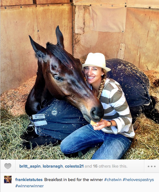 Frankie Thieriot Stutes and Chatwin, winners of the Woodside Preliminary Horse Challenge. Photo via Frankie's Instagram