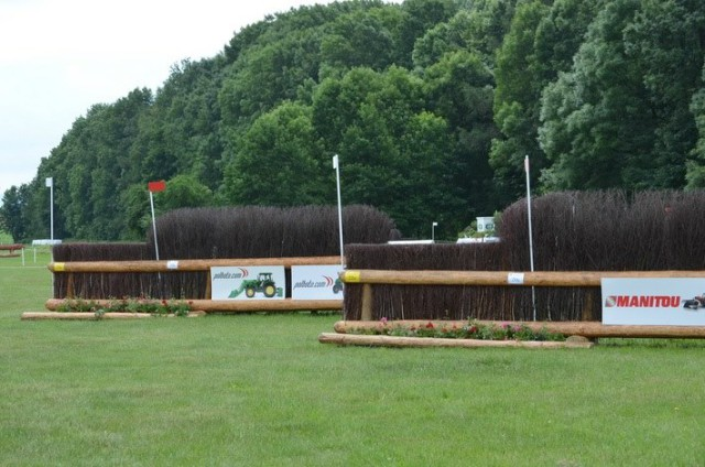 These angled brushes at fence 20AB caused the most trouble on the CICO3* Nations Cup course, which produced only two double clears: Izzy Taylor and KBIS Starburst and Chris Burton and Haruzac. Photo via Strzegom on Facebook.