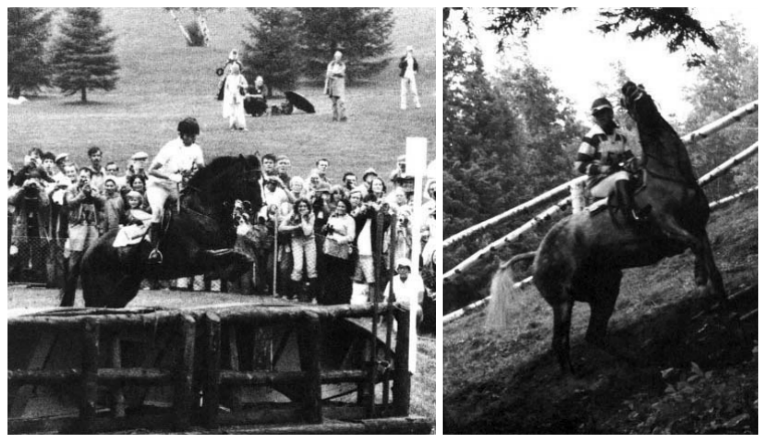 L: Princess Anne of Great Britain and Goodwill clear a jump during the endurance test.  R: Canada's Juliet Graham and Sumatra execute a quick two-meter turn on a wet hillside into the trees where they make a quick two-metre turn on a wet hillside to face another jump. Photos:
