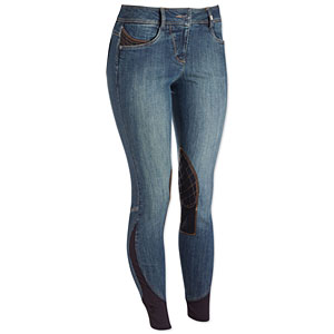 These sleek and stylish denim breeches come with contrasting knee patches in navy or red. Photo courtesy of SmartPak.