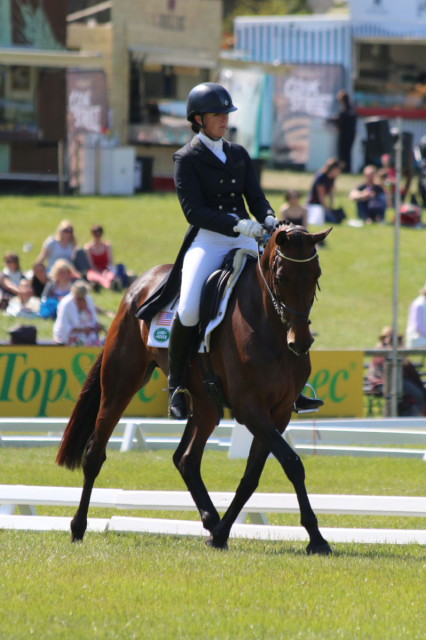 Lauren Kieffer and Veronica do their CCI3* Bramham Dressage Test Photo by Samantha Clark