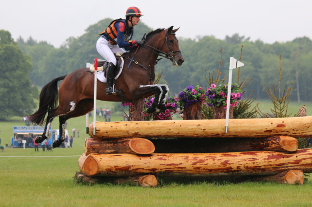 Lauren Kieffer and Team Rebecca's Veronica en route to a lovely clear around the Equitrek Bramham CCI3* cross country. Photo by Samantha Clark