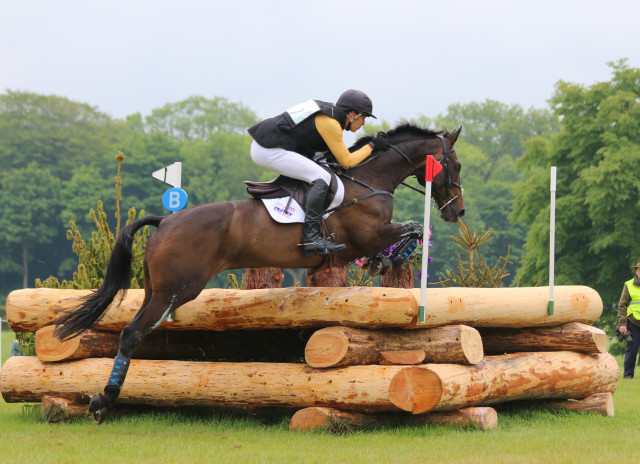 Nick Gauntlett and Crown Talisman who tired at the end but jumped clear round the Bramham 3* XC Photo by Samantha Clark