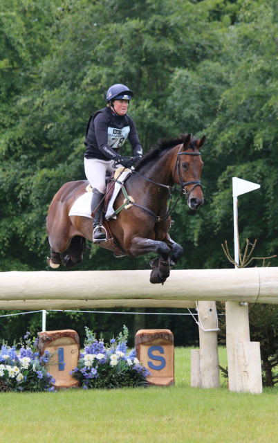 Pippa Funnell and Sandman jump clear with a little time around the Bramham 3* XC Photo by Samantha Clark