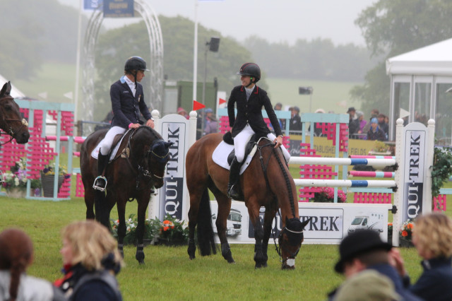 Earning their place in the history books: Caroline Martin and Quantum Solace place 10th in the Bishop Burton U25 CCI3* at Bramham and line up next to Olympian Ludwig Svennerstal. Photo by Samantha Clark.