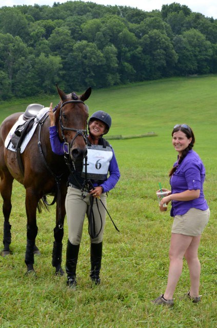 Missy Ransenhausen and Rachel Gross following cross country with Seema's OTTB, VS Pass Play. Photo courtesy of Lisa Thomas.