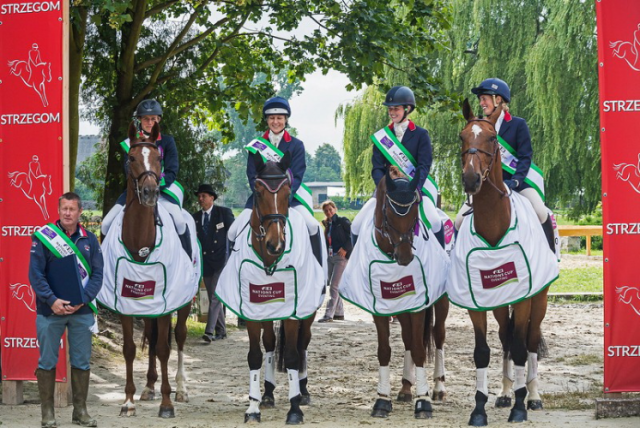 The winning British team at Strzegom, from left: Team GBR FEI Nations Cup Eventing manager Philip Surl, Izzy Taylor (KBIS Stardust), Sarah Bullimore (Valentino V), Emily Llewellyn (Green Lawn Sky High) and Jodie Amos (Figaro van het Broekxhof). Photo by EventingPhoto/FEI.
