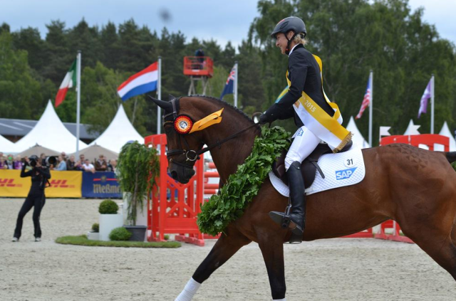 Ingrid Klimke and FRH Escada JS, winners of Luhmühlen 2015. Photo by Leslie Wylie.