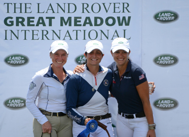 Colleen Rutledge, Jennie Brannigan and Lynn Symansky celebrate at #LandRoverGMI. Photo by Jenni Autry.