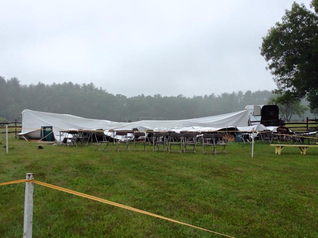 The sponsor and patron tent had collapsed under the rain on Sunday. Photo courtesy of Ann Getchell.