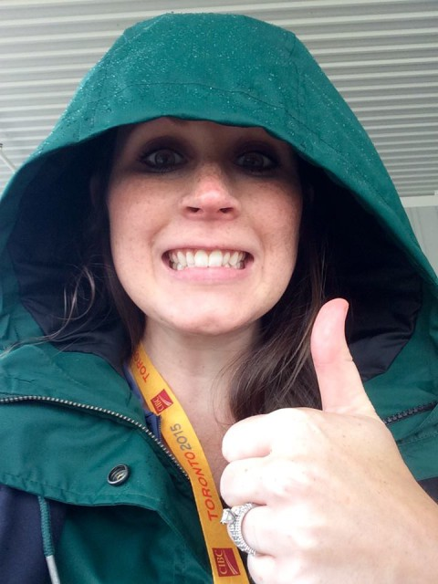 Jenni having a great time watching Pan Ams dressage in the cold Canadian rain.