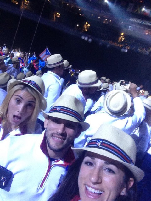 Lauren celebrates with the Puerto Rican judo team at the opening ceremony.