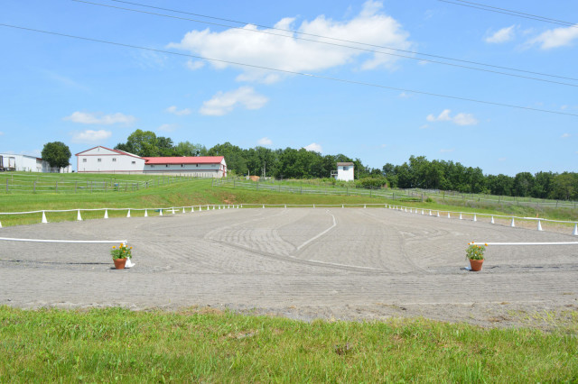 The dressage ring at Homestead Farm, where Beau also replaced the footing and drags daily to keep it in optimum shape. Photo by Dominique Guimond.