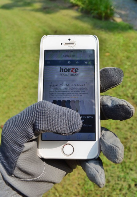 Horze Shona Touch Screen Riding Gloves: don't bother taking off your gloves to text your friends any more! Photo by Kate Samuels.