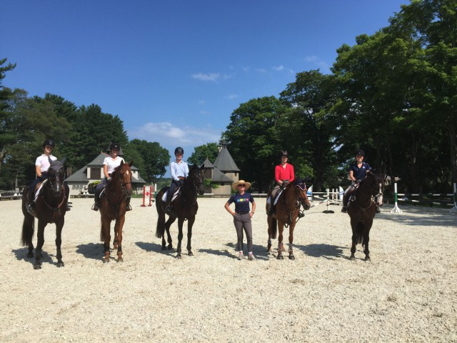 The Area 1 Team at Training Sessions From Left to Right: Caitlin Tierney and Killea Gynis View, Madison Gallien and Beau Voyager, Katie Lichten and RF Luminati, Mikki Kuchta, Anna Billings and Ain't Misbehavin', Mariah Gallien and Clonemethan Crest
