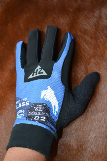 Horze Supreme Neo Riding Gloves in blue are super soft and comfortable. Photo by Kate Samuels.
