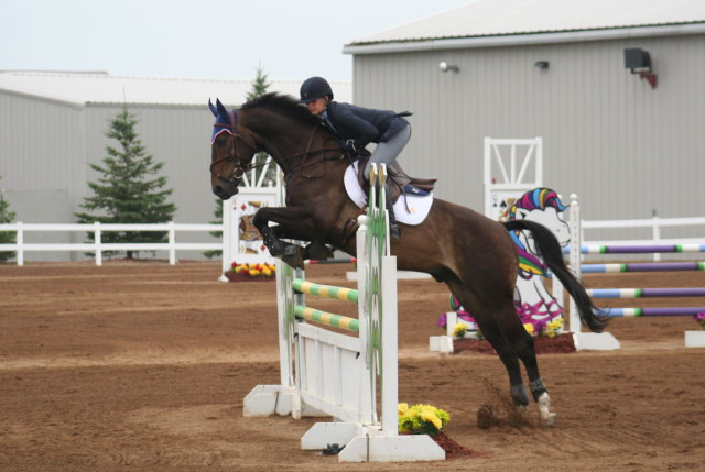 Lily Geelan and her horse Luksor had a double clear run on the Roebke's Run stadium jumping course Sunday. Photo by Pat Schmidt.