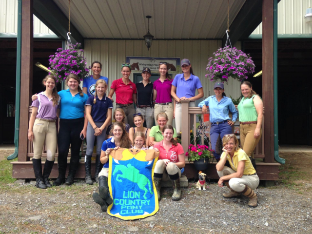 Some of the Lion Country Pony Club riders with two of our instructors, Allie Sacksen and Kate Chadderton.   Photo Credits to Sue Cavanaugh.