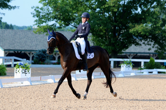 Camilla Grover-Dodge and Remington lead the CCI* at NAJYRC after the dressage phase at the Kentucky Horse Park.