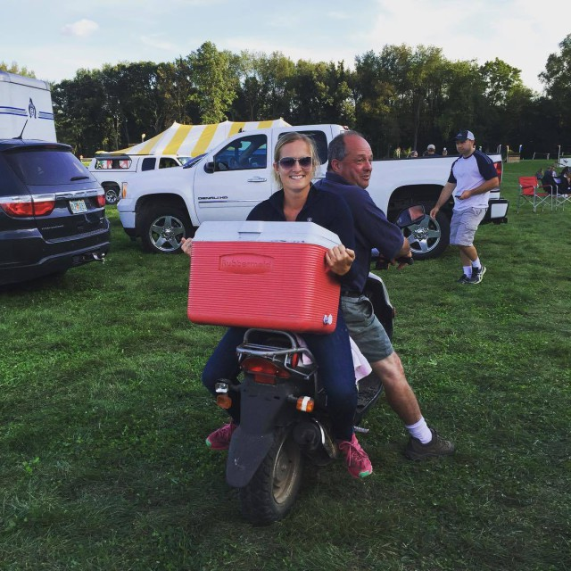 Megan Lynn helps to save the day at the Richland competitor's party. Photo via Megan Lynn's FB page.